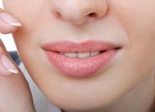 Female sensual lips closeup. Without makeup Royalty Free Stock Photos