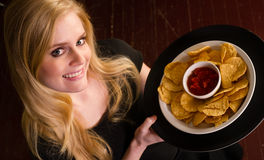 Female Server Brings Appetizer Chips Salsa Food Stock Photography