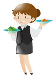 Female server serving food. Illustration Stock Photos