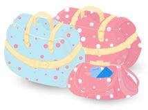 Female Set of Bags for Travelling. Female Set of  Blue and Pink Bags for Travelling, Decorated with Polka Dots Royalty Free Stock Photography