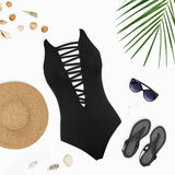 Female set of bright summer clothes for the beach. Flat lay beach accessories: swimsuit, sunglasses, hat, sandals with palm branches and shells. Top view on Stock Photos