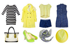 Female set collage clothes isolated. Royalty Free Stock Photo