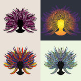 Female set. Four color variations. Hand drawn Royalty Free Stock Image