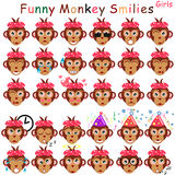 Female set of smilies in form of head monkeys with different emotions Stock Photo
