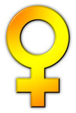 Female Sex Icon. Golden 3D symbol Royalty Free Stock Photo