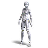 Female sexy metallic robot. 3D rendering with Royalty Free Stock Images