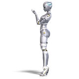 Female metallic robot. 3D rendering with Royalty Free Stock Photography