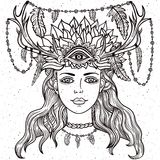 Female shaman portriat. Hand drawn beautiful artwork of female shaman with third eye. Alchemy, religion, spirituality, occultism, tattoo line zentangle hipster Stock Photos