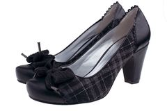 Female black shoes stock images