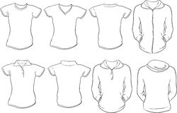 Female shirts template. A set of female shirts template Royalty Free Stock Images