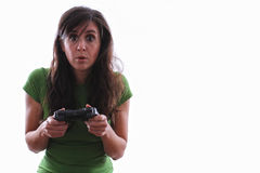 Female shocked with a console game Stock Image