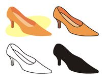 Female shoe 1. Vector illustration of female shoe in four versions Stock Photography