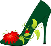 Female shoe. On the high heel, decorated with a flower Royalty Free Stock Photography
