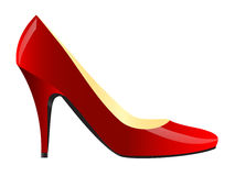 Female shoe. Realistic illustration of modern red female shoe isolated over white Stock Photography