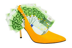 Female shoe with banknotes Stock Photo