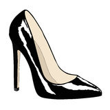 Female shoe of black color. Illustration depicting the window of a shoe store Stock Photos