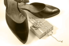 Female shoe and diamonds Stock Images
