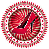 Female shoe label. Stock Images