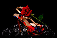 Female Shoe and rose Royalty Free Stock Images