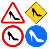 Female Shoe Signs. Warning, prohibition, information female shoe signs Stock Image
