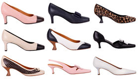 Female shoes. High and low heel shoes in different styles Stock Image