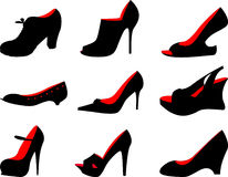 Female shoes. Different female shoes. A vector Stock Photos