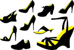 Female shoes. Different female shoes, a vector Stock Image