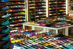 Female shoes  at  apparel shop. Female shoes diversity at  apparel shop Royalty Free Stock Photos