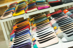 Female shoes at apparel store Stock Images