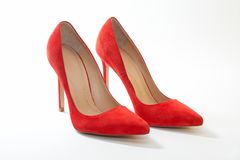 Female shoes, bright, suede on white background stock photo