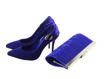 Female shoes  and clutch bag Royalty Free Stock Images