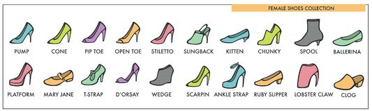 Female shoes collection of all designs and models Royalty Free Stock Photography