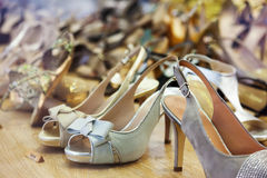 Female shoes at fashionable shop Stock Images
