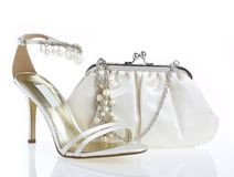 Female shoes and handbag Royalty Free Stock Photos