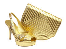 Female shoes and handbag Stock Photos