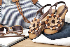 Female shoes and handbag Stock Images