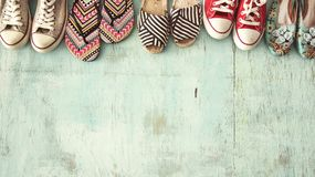 Female shoes high angle view. Female shoes  high angle view Royalty Free Stock Images