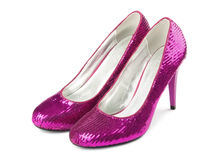 Female shoes. On a high heel, on white background royalty free stock photos