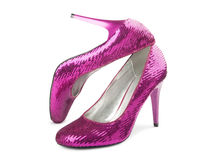 Female shoes on a high heel. On a white background stock images