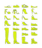 Female shoes icon. Isolated collection of woman fashion footware. Vector illustration royalty free illustration