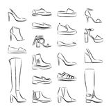 Female shoes line icon. Isolated collection of woman fashion footware. Stock Image