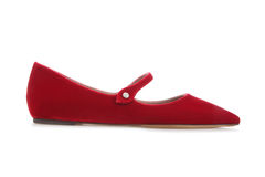 Female shoes. Red velvet ballerina flats isolated on white background Royalty Free Stock Images