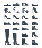 Female shoes silhouette. Isolated collection of woman fashion footware. Vector illustration vector illustration