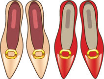 Female Shoes top view vector Tan Red Royalty Free Stock Image
