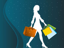 Female shopper. On dotted background vector illustration