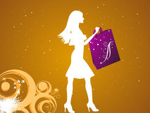 Female shopper. On dotted background royalty free illustration