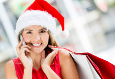 Female shopper on Christmas Stock Image