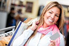 Female shopper with credit card Royalty Free Stock Photo