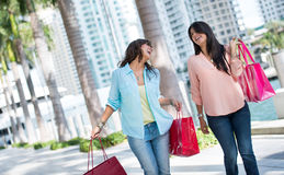 Female shoppers having fun Royalty Free Stock Images