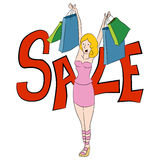 Female Shopping Bag Sale Cartoon Royalty Free Stock Photo